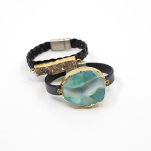 Jewelry - Two Natural Stone magnetic leather bracelets